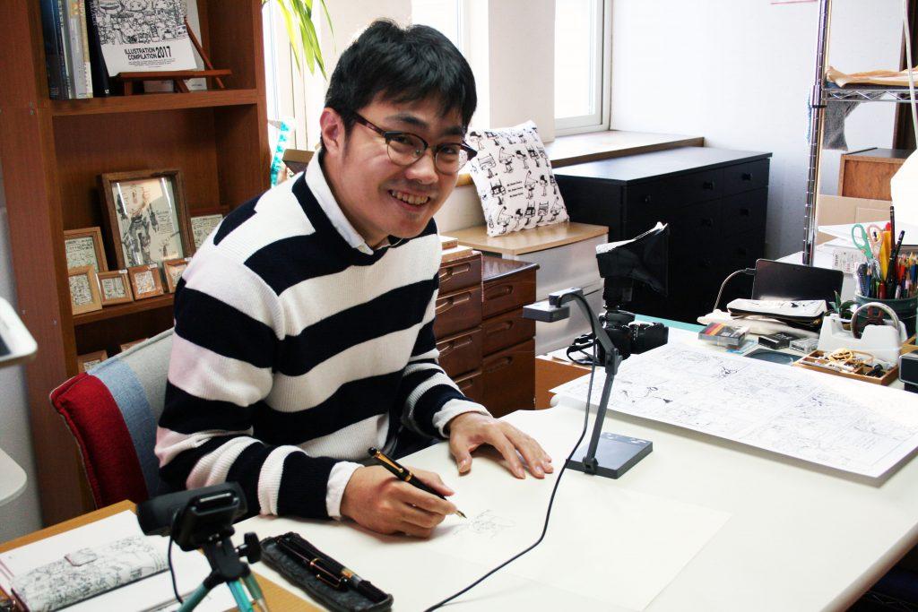 松村上久郎さんの作業風景